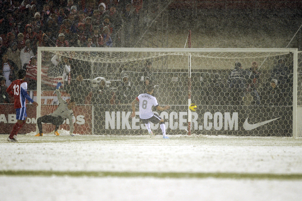 Clint Dempsey saved the USMNT again by putting himself in the position to score this goal. (Photo: Daniel Petty / The Denver Post)