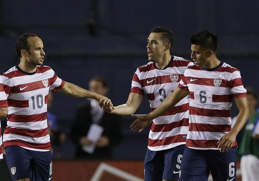 Landon Donovan (left), Herculez Gomez (center), and Joe Corona (right) have all earned the start against Costa Rica. (AP Photo/Gregory Bull)