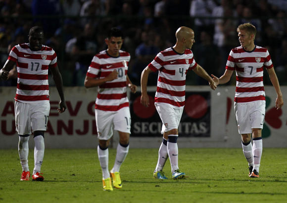Jozy Altidore, Joe Corona, Michael Bradley, and Aron Jóhannsson. (Photo: Dado Ruvic/Reuters)